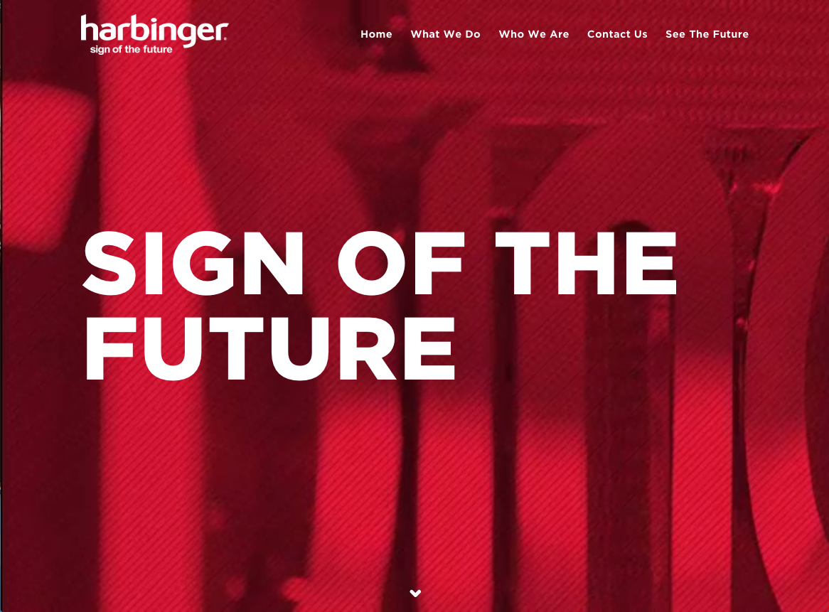 home page of Harbinger Signs website