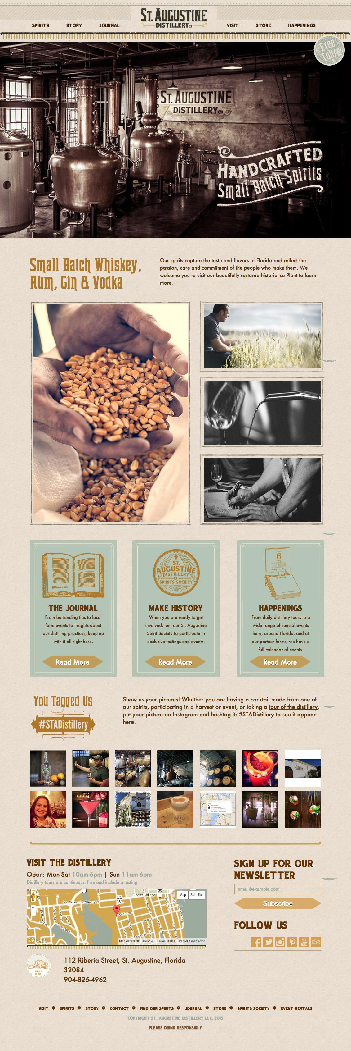 St Augustine Distillery's homepage